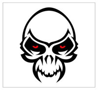 The logo  which is used as a symbol by members of the 'Hot Skull' gang.