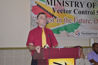 PAHO Senior Advisor Adriannus Vlugman addressing participants at the Malaria Day observance