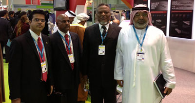 Prime Minister, Samuel Hinds, Chief Executive Officer of the Guyana Energy Agency, Dr. Mahender Sharma at the World Future Energy Summit in Abu Dhabi