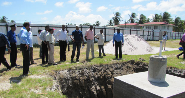 Dr Frank Anthony & team inspect one of the six completed foundations at the Albion Sports Complex