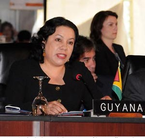 Minister of Foreign Affairs Carolyn Rodrigues-Birkett addresses the 43rd Regular General Assembly meeting of the Organisation of American States in Guatemala