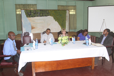 From left, National Youth Policy Consultant, Mr. Derek Alleyne;  Dr. Frank Anthony, Minister of Culture, Youth and Sport; Ms. Marianne Flach, representative of UNICEF Guyana/Suriname; Programme Manager of Commonwealth Youth Programme, Ms. Dwynette Eversley; and Mr. Rawle Small, Chairman of the National Stakeholders Committee