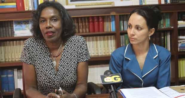 Venezuelan Ambassador to Guyana, Her Excellency Reina Margarita Arratia Diaz, and her translator, Ms Liliana Tejeda yesterday. (Sonnel Nelson photo)