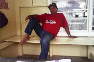 Security guard Miguel Jacobs enjoys life on Leguan Island.