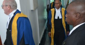 Judges from the Caribbean Court of Justice (CCJ) making their way to the room where the sitting was held at the Guyana International Conference Centre, Liliendaal.