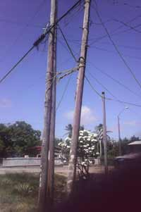 What a shame! Here in photo a length of rope is used to hold three rotten looking GPL power poles together.