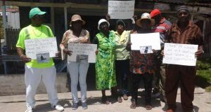 Pensioners at their assembly point after being ordered from their protest location by the police