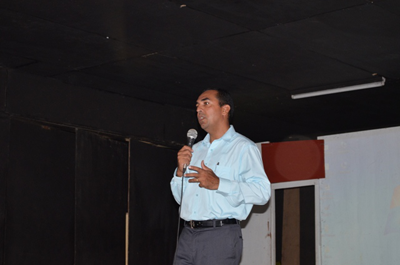 National Frequency Management Unit (NFMU) Managing Director, Valmikki Singh during his address to the students at the ICT Tech Day Camp at Lichas Hall, Linden, Region 10