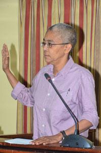 Red Thread Coordinator Karen De Souza giving her testimony