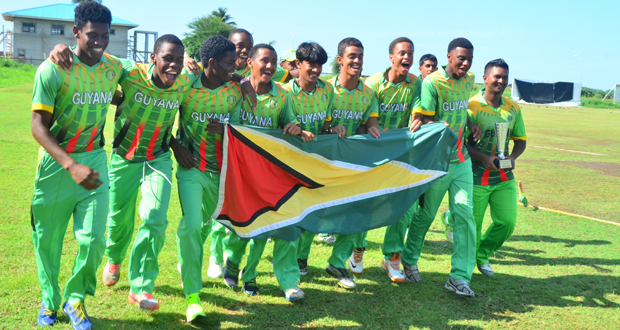 the champions! The victorious Guyana Under-19 team completes a short ...