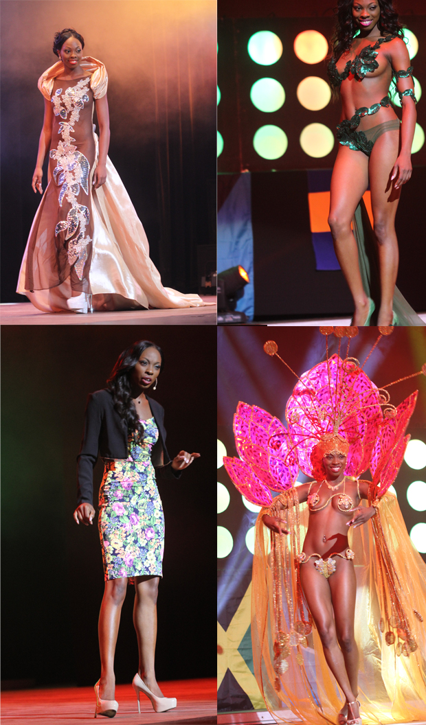 Guyana's Soyini Fraser during her National Costume, Evening Gown, Country Presentation and Fantasy Swimwear segments