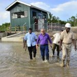 President Ramotar visits flood hit East Coast communities – checks drainage facilities