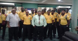 GCB vice-president Fizul Bacchus and president Drubahadur with the Guyana Jaguars team yesterday upon their arrival.
