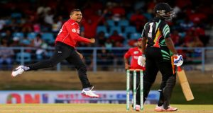 Sunil Narine celebrates the wicket of Raymon Reifer, Trinidad & Tobago v Guyana in the NAGICO Super50 final at Queen's Park Oval, last Sunday. (Photo by WICB Media/Ashley Allen)