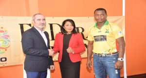 (L-R) Limacol CPL's Commercial Director Jaime Stewart, Marketing Director Sharda Veeren-Chand and Guyana Amazon Warriors 'big-hitter' Christopher Barnwell. (Samuel Maughn photo)