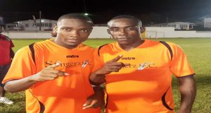 Slingerz FC goalscorers Dexroy Adams (left) and Devon Millington