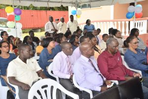 A section of the gathering at the commissioning of the NIS $37M multipurpose complex on Carifesta Avenue