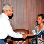 President David Granger with Venezuela's Ambassador to Guyana, Her Excellency Reina Margarita Arratia Diaz, at the Office of the President yesterday
