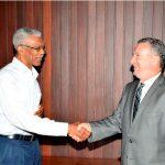 Guyana's 8th Executive President, His Excellency, David Granger and Brazil's Ambassador to Guyana, His Excellency, Mr. Lineu Pupo de Paula