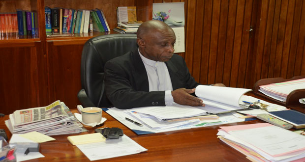 Vice-President and Foreign Affairs Minister Carl Greenidge in his office, Shiv Chanderpaul Drive