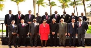 CARICOM Heads at the CARICOM Heads of Government meeting in Barbados. Fourth right is Guyana's President David Granger (Photo courtesy of the Ministry of the Presidency)