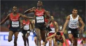 Asbel Kiprop (centre) just beat his compatriot Elija Manangoi to take gold in the 1500m event.