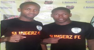 Strikers Julian Wade (L) and Domini Garnett will be on show for Slingerz FC tonight