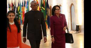President David Granger and First Lady Sandra Granger arriving at the Opening of the Commonwealth Heads of Government Meeting in Malta on Friday