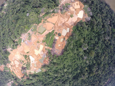 4.A photo taken using the community-developed drone shows destruction due to mining in Wapichan territory.
