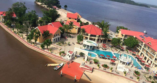 An overhead view of the Aruwai White H2O Resort in the Mazaruni River, Essequibo
