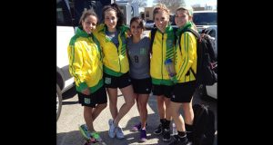 Some members of the Lady Jags squad after they arrived in Houston Texas on Monday
