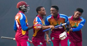 Caribbean delight! Captain Shimron Hetmyer, Shamar Springer along with Keemo Paul played crucial roles as West Indies sail through to the final of Under-19 World Cup, thrashing Bangladesh by three wickets. Also in photo is not-out batsman Ryan John. (ICC photo)