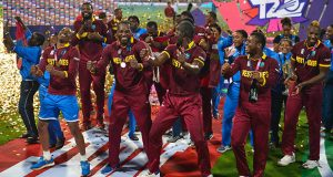 Darren Sammy's West Indies celebrate after their World T20 victory