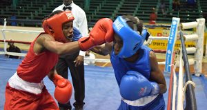 Delroy Elcock (left) and Joel Allicock exchange punches during their junior flyweight contest at the Cliff Anderson Sports Hall on Friday evening (Cullen Bess-Nelson photo).