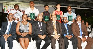 (Standing) L-R Award winners, representative of Buxton Youth Development Organisation, Sean Devers, Larissa Wiltshire, Taylor Fernandes and  Carl Ince. 