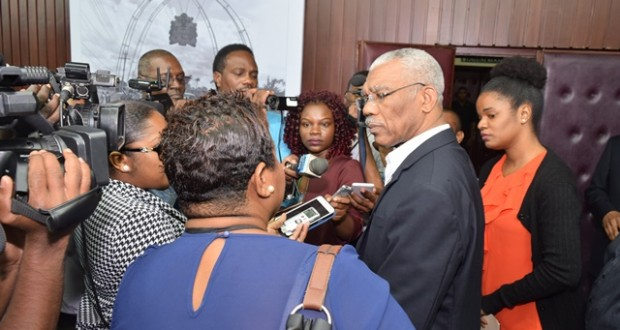 President David Granger responding to questions posed by media operatives at his Office on Wednesday