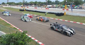 Jamaica's Kyle Greg's Radical RXC leads countryman Doug Gore's Audi (second), Kristian Jeffrey's Evolution (third) and Mark Maloney's Mazda Rx3. At the back are Jamaican Chris Campbell (BMW M5) and Trinidad's Franklyn Boodram's Renault Megane. (Stephan Sookram photo)