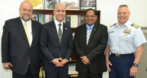 At left, US Ambassador to Guyana Perry Holloway, representative of the US President Juan Gonzalez and Captain Robert Landolfi of the US Coast Guard, with Prime Minister Moses Nagamootoo (second right)