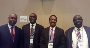 From left, Caribbean Financial Action Task Force (CFATF) Executive Director, Calvin Wilson; Gambia's Financial Intelligence Centre official, Philip Danso; Attorney General Basil Williams; and Ugandan finance official, Sydney Asubo