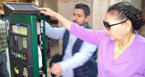Mayor Patricia Chase-Green inspecting a parking meter in Mexico recently.