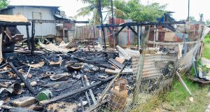 The remains of the De Willem Village, area 'G' Squatting Area, West Coast Demerara home, where Satesh Jagmohan lost his life