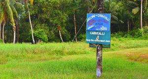 A sign outside Cabucalli, one of several communities called 'islands' at Moruca