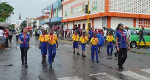 The St Lucia delegation of scouts marching along Avenue of the Republic on Monday morning