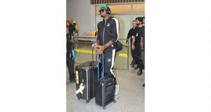 Usain Bolt lands in Brazil after a flight from London on Wednesday night.