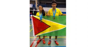 Guyana's Priyanna and Narayan Ramdhani win gold and bronze respectively at the Caribbean Regional Badminton Championships 2016.