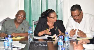 Social Protection Minister Volda Lawrence engages the Chief Labour Officer Charles Ogle during the meeting in the presence of Minister Keith Scott