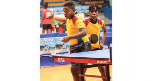 Kaysan Ninvalle and Abigale Martin compete in the Mixed doubles of the 2016 Caribbean Pre-Cadet table Tennis Championships.