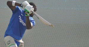 Darren Bravo bats during a West Indies training session at the Sharjah Cricket ground. WICB Media Photo/Philip Spooner.