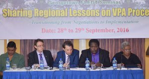 Permanent Secretary of the Natural Resources Ministry, Joslyn McKenzie (second from right) delivering brief remarks, in the presence of GFC Chair Jocelyn Dow (on the right) and (from left to right) FC Commissioner James Singh, Acting British High Commission Ron Rimmer and Head of Cooperation of the EU Delegation in Guyana Christof Stock