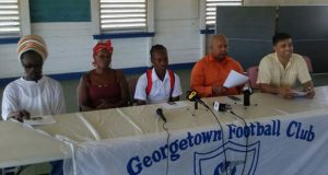 Kelsey Benjamin (centre) flanked by his parents on his right, Kelsey Benjamin Snr.and Linda Forde and to his left, Head Teacher, Henry Chase and GFC's General Secretary, Faizal Khan.at yesterday's Press brief.